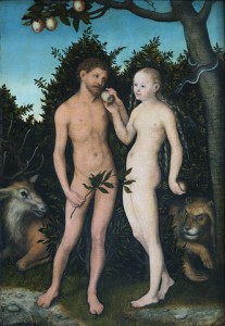 Adam and Eve (1533) by Lucas Cranach the Elder. Photo by Till Niermann via Wikimedia Commons.
