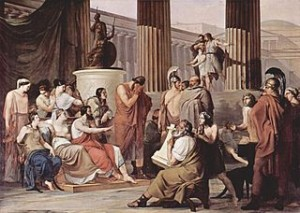 Odysseus at the court of Alcinous by Francesco Hayez, 1814-1815, in Galleria Nazionale de Capodimonte, Source, The Yorck Project, via Wikimedia Commons.
