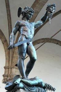 Perseus by Benvenuto Cellini. Bronze and marble (base), 1545–1554. Under the Loggia dei Lanzi, Florence, since 1554. © Marie-Lan Nguyen / Wikimedia Commons