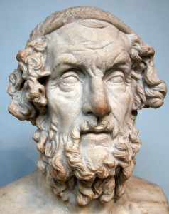 This one. 2nd century BCE Roman copy of a lost Hellenistic marble bust of Homer, from Baiae, Italy in the British Museum. From Wikimedia Commons.