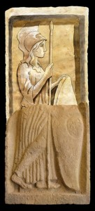 Relief of Minerva, and hypothetical reconstruction of upper half. Source: Arxiu Municipal Tarragona.