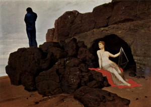 Odysseus and Calypso (1883) by Arnold Böcklin. Kunstmusuem Basel. The Yorck Project: 10.000 Meisterwerke der Malerei. DVD-ROM, 2002. Via Wikimedia Commons.