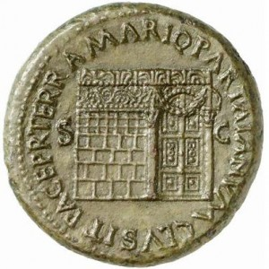 A sestertius (about 2.5 asses), a Roman coin of the time of Nero 54-68 CE. It says PACE P R TERRA MARIQ PARTA IANVM CLVSIT S C and shows the Temple of Janus with ornate roof decoration, latticed window on the left and with a garland hung across the closed double doors to the right. BNC 319. BN 73. Cohen 146. RIC 438. WCN 419. From the From the Patrick H. C. Tan Collection. Source Classic Numismatic Group Inc. http://www.cngcoins.com/Coin.aspx?CoinID=163662 via Wikimedia Commons.