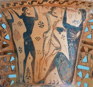 Funerary Amphora showing Odysseus and his men blinding the cyclops Polyphemus. Detail of the neck. Around 660 BCE, Archaeological Museum of Eleusis. Via Wikimedia Commons.