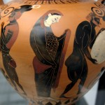 Persephone supervising Sisyphus pushing his rock in the underworld. Side A of an Attic black-figure amphora from Vulci, ~ 530 BCE. From Vulci. Staatliche Antikensammlungen via Wikimedia Commons.