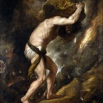 Sisyphus, 1548-1549. Titian. This painting was one of a series of four (including Tityus, https://www.museodelprado.es/en/the-collection/online-gallery/on-line-gallery/obra/ticius/, Ixion, and Tantalus) commissioned by the sister of emperor Charles V to serve as warning to those who dared oppose him. The four mythological characters are suffering eternal punishment for opposing the gods. Ixion and Tantalus were destroyed in the 1734 fire at Madrid's Alcazar Palace. Museo Nacional del Prado Museum. Via Wikimedia Commons.
