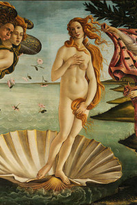 Detail of tThe Birth of Venus. Sandro Botticelli. 1483-1485. Uffizi Gallery, Florence. Wikimedia Commons. Simonetta died of consumption at the age of 24 nine years before this painting was done. Historian Felipe Fernandez-Armesto discounts the myth that Simonetta Vespucci, the most beautiful woman of her time, was the model for Botticelli.