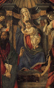 Detail of the Madonna with Child and Four Angels and Six Saints (Pala di Barnaba). Sandro Botticelli. 1488. Uffizi Gallery, Florence. Wikimedia Commons.